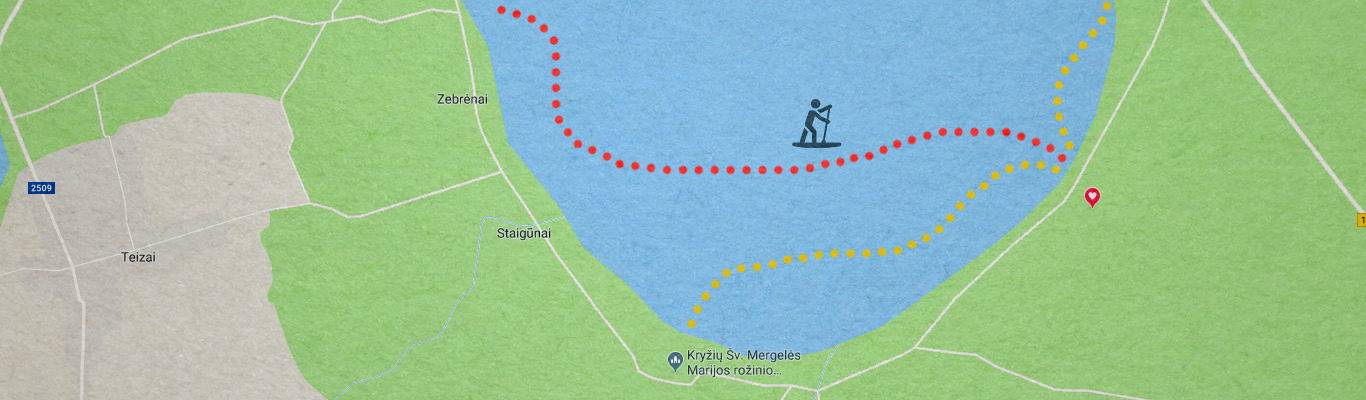 Dusia irklenčių sup maršrutų žemėlapis
